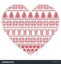 Santa Cross Stitch, Cross Stitch Heart, Cute Cross Stitch, Cross Stitch Designs, Cross Stitch Patterns, Christmas Knitting, Christmas Cross, Cross Stitch Needles, Cross Stitch Embroidery