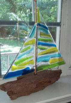 Fused glass and driftwood sailboat
