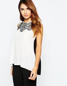 Image 1 ofLipsy Top With Lace Trim