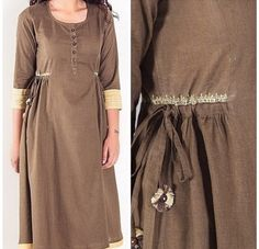 Frock Fashion, Abaya Fashion, Fashion Sewing, Fashion Dresses, Girls Dresses Sewing, Dress Sewing Patterns, Linen Dresses, Fancy Dress Design, Kurta Style