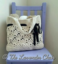 This gorgeous vintage crochet bag features lacy shells along the middle of the bag and a gorgeously chic ribbon threaded along the top. You can keep this bag as is for a market bag or beach tote, but you can also add a simple liner to make it more of an everyday crochet bag.