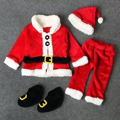 Baby santa outfit for your cute little baby boy or baby girl. This unisex baby outfit is perfect for Christmas celebration. This baby Christmas outfit comes with 4 pieces, hat, top, pant and socks.  Product Info 1. Made with high quality material that is soft and keeps your baby warm during winter time 2. Great for fir