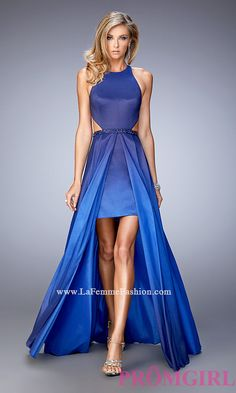 Sleeveless Ombre High Low Prom Dress by La Femme Style: LF-22328
