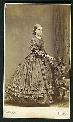 CDV Victorian Lady in Crinoline Dress Photographer Wormald of Leeds | eBay