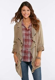 28067bd1c2884 Cato Fashions Waterfall Front Jacket  CatoFashions Cato Fashion Plus Size