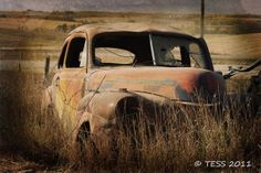 Abandoned Old Car Photo - Vintage Photography - Rustic - Weathered -  Matted 8 x 12 - Color Or Black and White