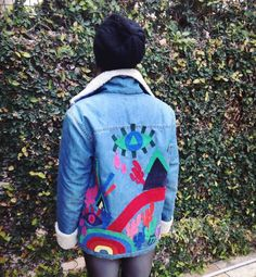 Denim jacket custom with leather patches by @ceuhandmade