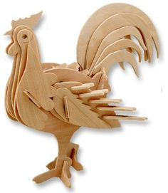 3-D Wooden Puzzle – Small Rooster -Affordable Gift for your Little One! Item #DCHI-WPZ-M010A