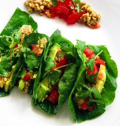 Raw Vegan Tacos by ASTIG Vegan | Totally tasty nutty #tacos, wrapped in collard greens with salsa - Kate