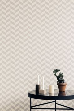 I was looking forward to the new Ferm Living Fall / Winter 2014 collection. Ferm Living focuses its colle. Ferm Living Wallpaper, Grey Wallpaper, Geometric Wallpaper, Pattern Wallpaper, Wallpaper Paste, Modern Wallpaper Designs, Designer Wallpaper, Scandinavian Nursery Furniture, Black Marble Coffee Table