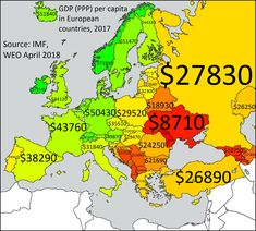 GDP per Capita in Europe 1890 vs 2017 - Vivid Maps Economic Map, European Countries, European Map, Important Facts, City Maps, Historical Maps, The Locals, Rugs On Carpet, Britain