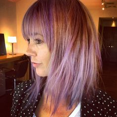 Purple choppy bob haircut with bangs courtesy of Frederic Fekkai Melrose Place Salon Stylist Briana