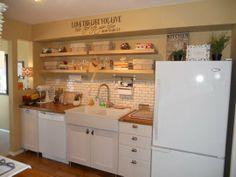 cork floor and open shelving Audrey's Comfy Cork Floor Kitchen