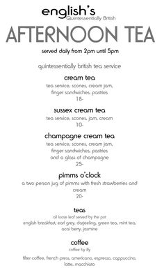 Betty's tea rooms menu