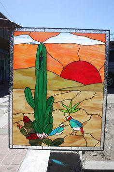 Cactus & desert quail Style Stained Glass Panel by ArtGlassWindows