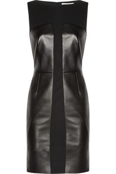 Yves Saint Laurent | Leather and stretch-wool crepe dress | NET-A-PORTER.COM