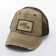 Trucker Hat RC Patch - Light Brown Hat with Dark Brown Stitching/ Olive Green Rustic Cuff