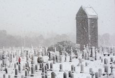 Scotland snow: Heavy snow in a churchyard Peebles, Scotland