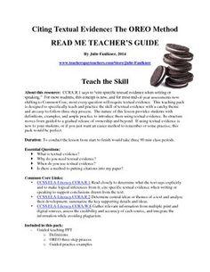 CITING TEXTUAL EVIDENCE TEACHING PACK {EXAMPLES, TASK CARDS, PRACTICE} - TeachersPayTeachers.com