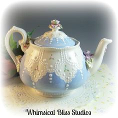 Whimsical Bliss Studios - Vintage Lace Teapot in blue with pastel flowers and roses