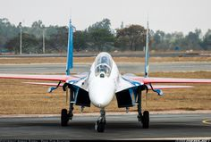 Sukhoi Su-27UB, Russian Air Force 20 BLUE Turning off the taxiway to park up after the Russian Knights delayed arrival at Yelahanka.