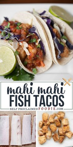 Bring the flavor of the islands to your family dinner table by making these fabulous Mahi Mahi Fish Tacos wrapped in soft corn tortillas. #fishtacos #mahimahi #easy #recipe