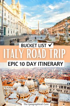Planning a trip to bella Italy for the first time? This is the ultimate itinerary for visiting the three main cities Rome, Venice, and Florence. In 10 days, it takes you to Italy's best cities, must see sites, historic landmarks, and world class museums. You'll be dazzled by churches filled with mosaics, towering duomos, art by Michelangelo and Leonardo da Vinci. Italy Itineraries | Italy Road Trips | What To Do and See in Italy | Italy Bucket List | Italy Destinations | Italy Experinces Italy Travel Tips, Europe Travel Guide, Travel Guides, Italy Destinations, Road Trip Destinations, Road Trip Europe, Road Trip Usa, Italy Places To Visit, Romantic Italy