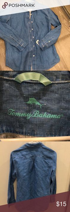 🆕Tommy Bahama 100% linen shirt ❤️ New tommy bahama blue linen shirt, button down, has tiny nick in the stitching by button from its tag❤️ size XS TP❤️ Tommy Bahama Shirts Casual Button Down Shirts