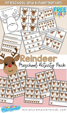 Reindeer Find The Difference, Counting Cards, And Activities ⋆ Miniature Masterminds - Rentier basteln Preschool Learning Activities, Christmas Activities, Classroom Activities, Preschool Activities, Preschool Worksheets, Kindergarten Math, Christmas Math, Preschool Christmas, Preschool Winter