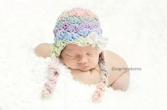 CROCHET PATTERN Newborn Shell Beanie with earflap by Tanyastangles. $3.99, via Etsy.