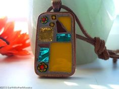 Mosaic Pendant Copper Stained Glass Yellow by earthmothermosaics, $30.00