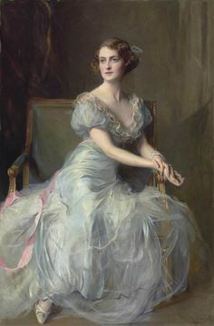 Portrait Of Lady Illingworth Artwork By Philip Alexius De Laszlo Oil Painting & Art Prints On Canvas For Sale Classic Paintings, Old Paintings, Beautiful Paintings, Portrait Paintings, L'art Du Portrait, Giovanni Boldini, Blue Ball Gowns, Painted Ladies, Victorian Art