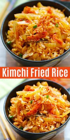 Kimchi Fried Rice loaded with Korean kimchi and steamed rice. This easy fried ri. - Kimchi Fried Rice loaded with Korean kimchi and steamed rice. This easy fried rice recipe takes onl - Mexican Food Recipes, Vegetarian Recipes, Dinner Recipes, Healthy Recipes, Healthy Food, Korean Food Recipes, Kitchen Recipes, Cooking Recipes, Vegan Recipes