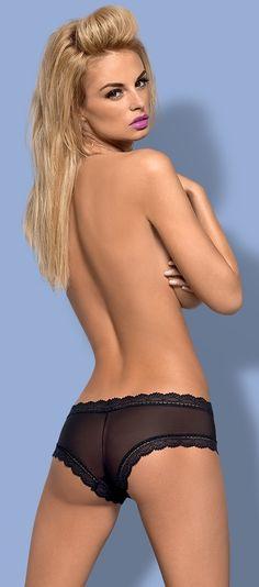 BRAGUITAS NEGRAS GUSTA DE OBSESSIVE. Short liso en color negro con terminación en blonda y tela semitransparente en el lateral. Tejido muy flexible y cómodo que se adapta totalmente al cuerpo y realza las nalgas. Muy suave al tacto. #bragas #lencería #shorts #Obsessive