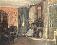 Rococointerior med laesende dame by Adolf Heinrich Claus Hansen