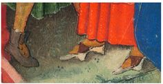 Lady wearing Pattens* over her shoes/boots. *Pattens are carved wooden platforms with leather strap which are worn over the boot and shoes. They appear to be worn indoors and in towns/cities rather than as workwear. Reason - possibly to protect the shoes/ boots from dirt and or to raise the feet off cold floors. Circa 1440 MSS M.917, p. 144–M.945, f. 20r  Catherine of Cleves. Morgan Library