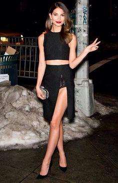 lily aldridge croptop skirt black