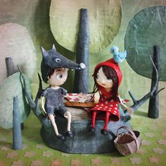 Little Red and Wolfie at PicNic, by Chloé Rémiat (Papier Maché Children Tales IIlustrator).