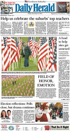 Daily Herald front page, Nov. 9, 2012