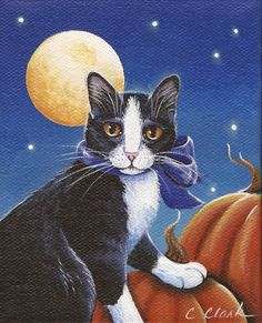 """This little painting combines two of my loves - Cats and Halloween! Acrylics on a 4"""" x 5"""" chunky canvas (1 1/2"""" deep), with polka dotted edges"""