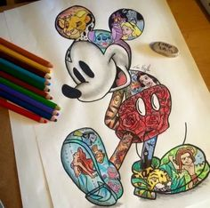 Idea for Disney Mickey tattoo including Disney characters within Mickey.