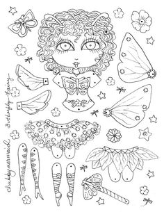 Instant Download Butterfly Fairy Paper Doll door ChubbyMermaid