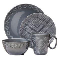 Nate Berkus™ Textured Diamond 16-Piece Dinnerware Set - Gray