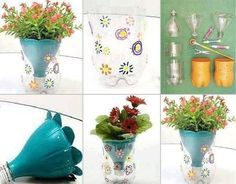 Recycled Plastic Bottle Half Flower Pots