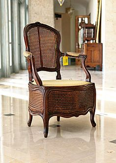 French Antique Carved Walnut Louis XV style Caned Chamber Pot Armchair
