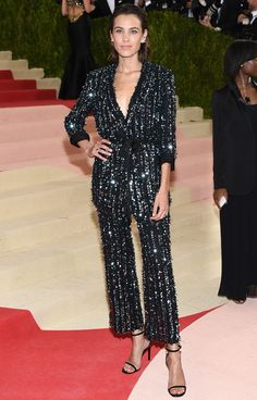 Smoking suit with sequined pinstripes - Met Gala 2016