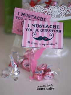 Cupcake Cutiees: Mustache Girls Valentine DIY Card & Candy Kisses Set- PARTY STORE