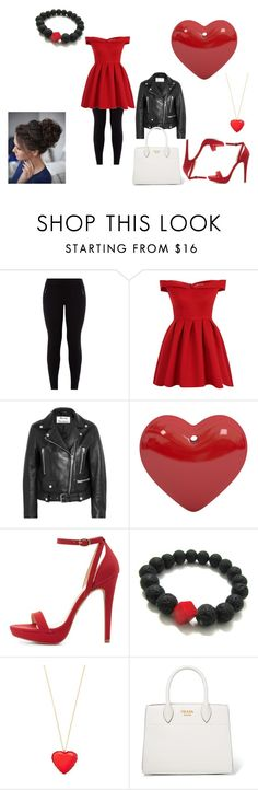 """""""What's red,white and black all over?"""" by finn-hudson-forever24 ❤ liked on Polyvore featuring New Look, Chi Chi, Acne Studios, Wild Diva, Kate Spade, Prada, love and red"""