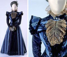 Circa 1897 Dinner dress by Jean-Philippe Worth. Striped silk satin and velvet with lace, sequin, and bead trim. Via Costume Museum of Canada.