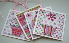 Pink Christmas Cupcakes - Set of Four Gift Tags £2.50